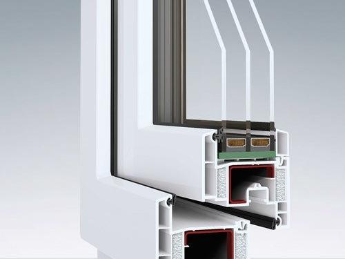Keturių kamerų plastikinis langas, lango rėmo pjūvis, ENCORE, Wexpert, plastikiniai langai ir durys